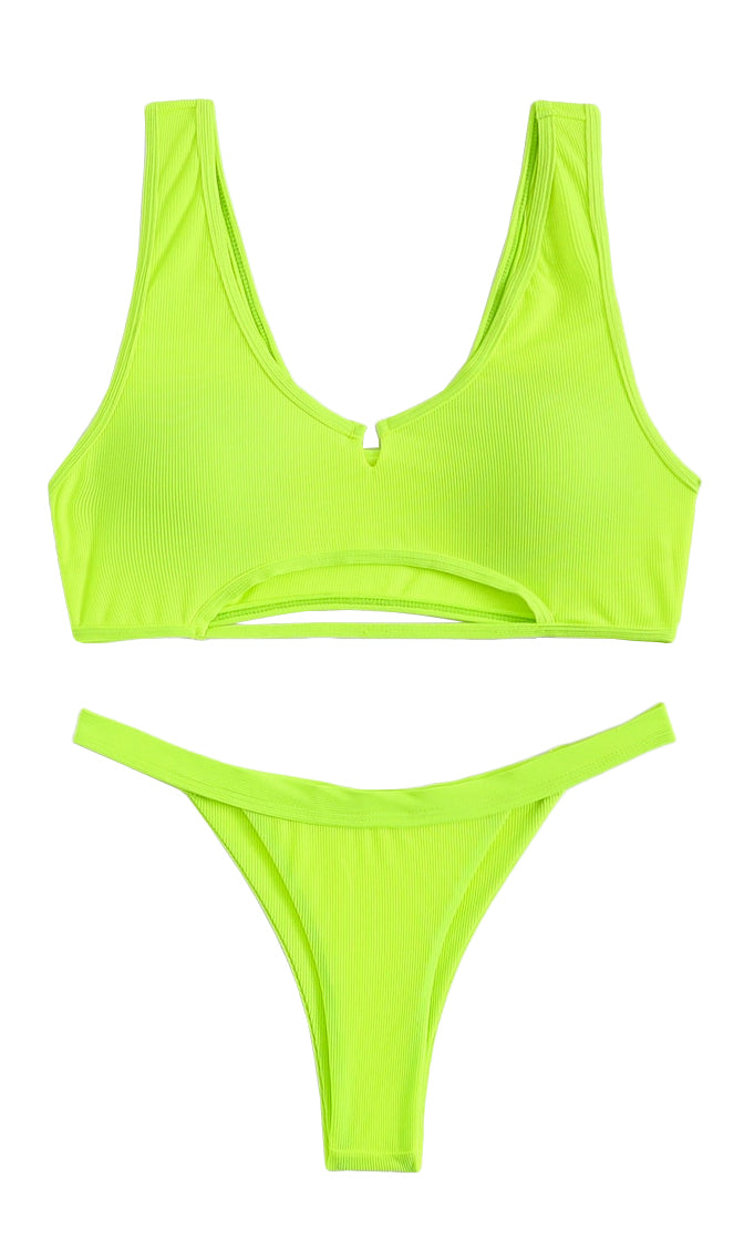 Sandy Kisses Ribbed Sleeveless V Neck Cut Out Crop Top Brazilian Two Piece Swimsuit Bikini - 2 Colors Available
