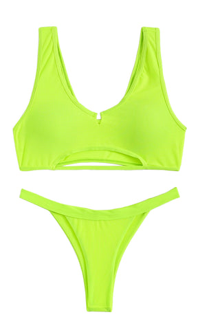 Beach Baby Spaghetti Strap Triangle Top Tie Side Thong Two Piece Bikini Swimsuit - 6 Colors Available