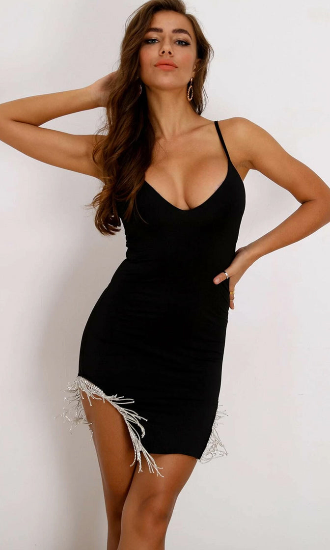 Twice The Fun Black Spaghetti Strap V Neck Bodycon Stretch Rhinestone Fringe Cut Out Mini Dress
