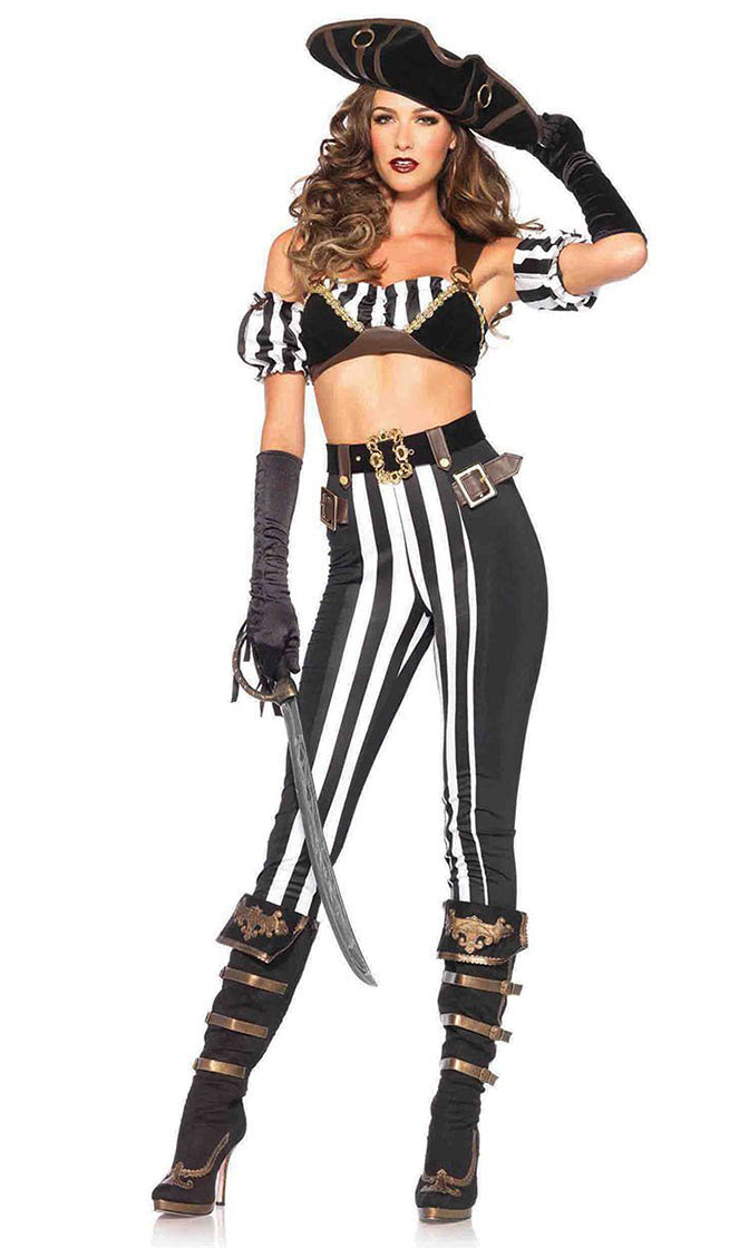 Diva On Deck Black White Vertical Stripe Pattern Sleeveless Crop Top Leggings Two Piece Halloween Costume