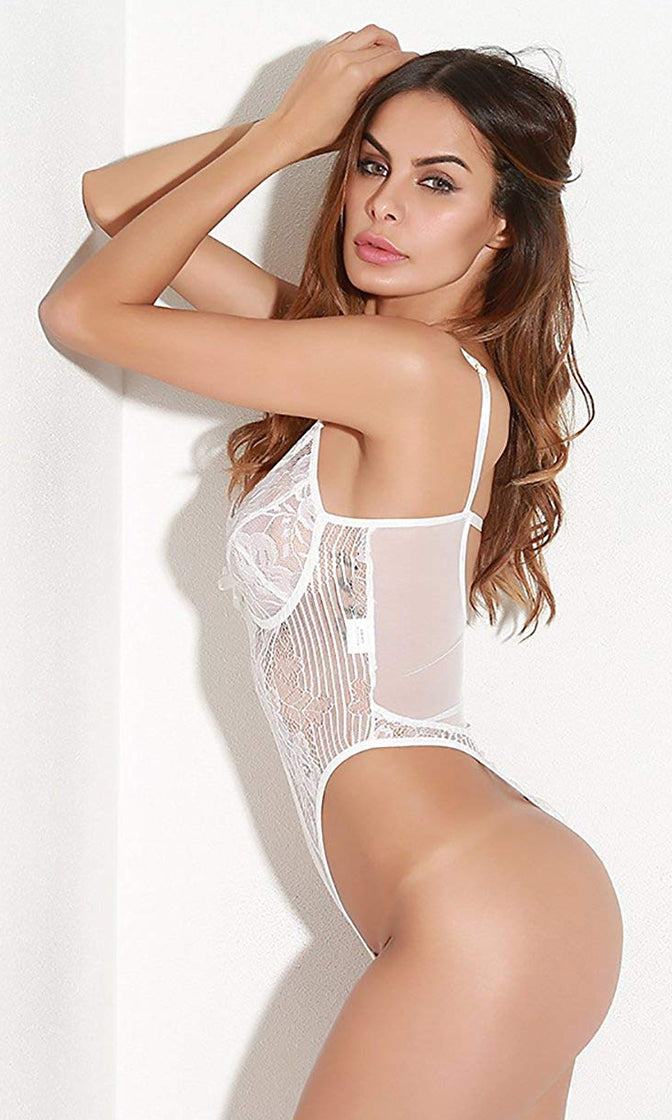 Time For Bed White Sheer Mesh Lace Sleeveless Adjustable Strap V Neck Cut Out Back Thong Lingerie Bodysuit Top