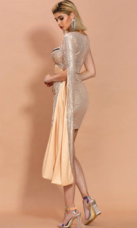 High Standards Silver Black Sequin One Shoulder Long Sleeve Cape Cut Out Contrast Silver Bustier Bodice Tulip Wrap Asymmetrical Hem Bodycon Two Piece Mini Dress