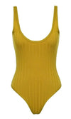 Flying All Night Mustard Yellow Sleeveless Ribbed Deep Scoop Neck Open Back Bodysuit Tank Top