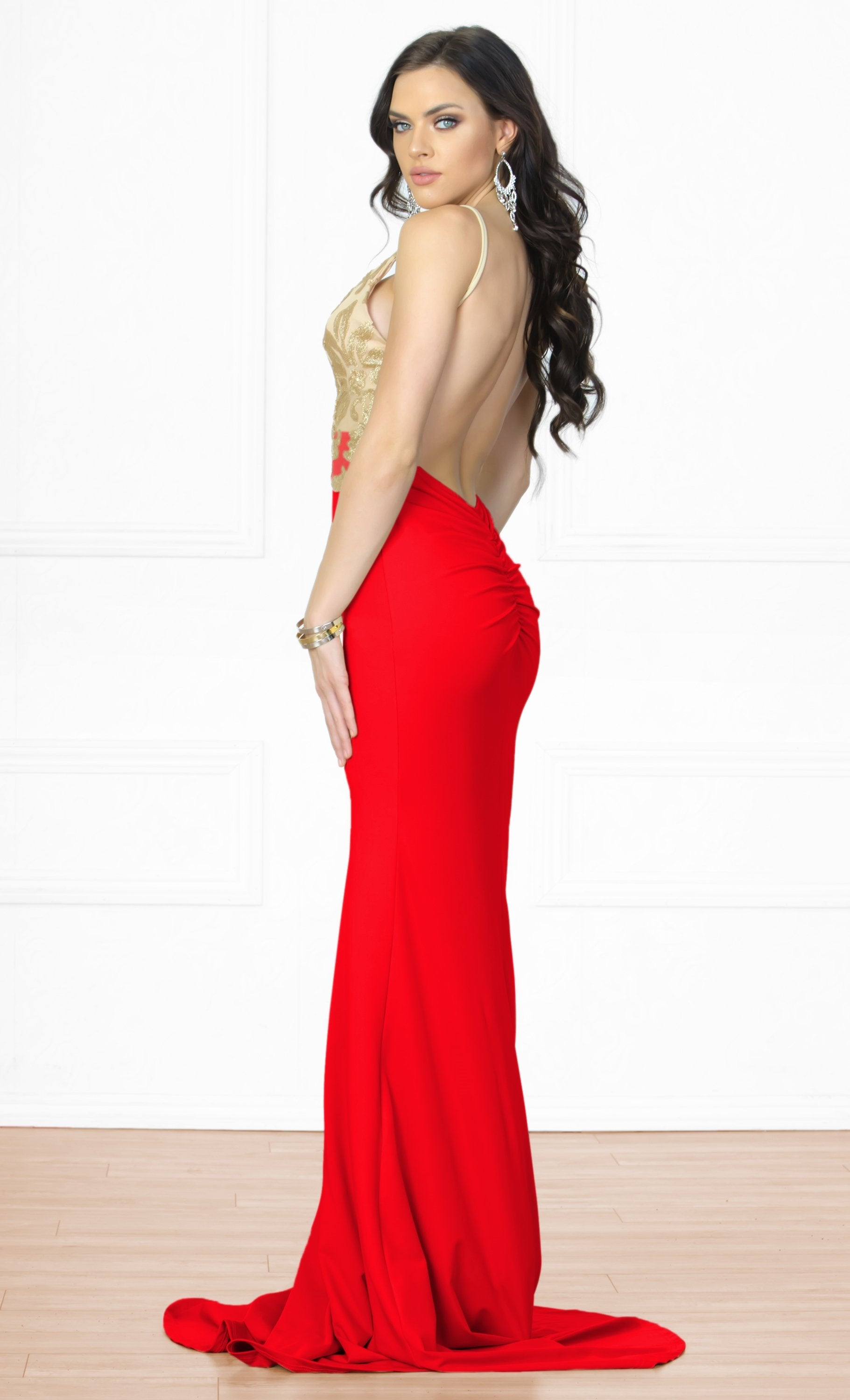 0dd6af43 Indie XO Always Amazing Red Gold Metallic Lace Sleeveless Spaghetti Strap  Plunge V Neck Backless Ruched