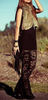 Chocolate Brown Sheer Lace Bell Bottom Flare Leg Pants - Sold Out