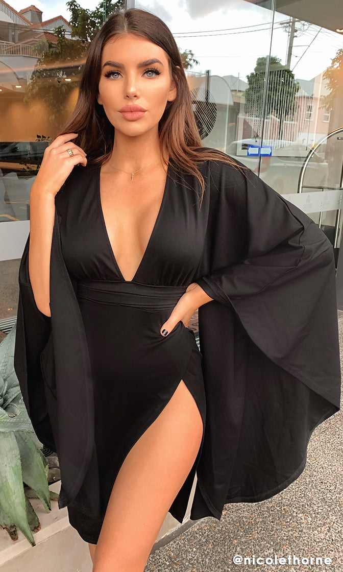 Bigger Than Life Long Bell Kimono Sleeve Plunge V Neck Cross Wrap High Slit Bodycon Midi Dress