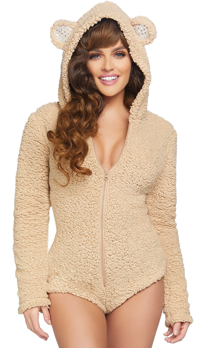 Tempting Teddy Beige Long Sleeve Zip Front Hood Bear Ear One Piece Romper Playsuit Halloween Costume