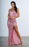 Indie XO Ambitious Dream Pink Sequin Strapless Sweetheart Neck High Slit Fishtail Maxi Dress