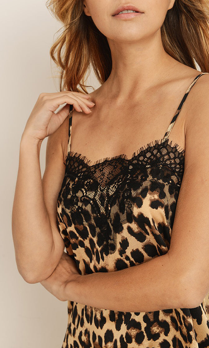 Call Me In The Morning Leopard Print Animal Pattern Sleeveless Spaghetti Strap Lace Trim Slip Mini Dress