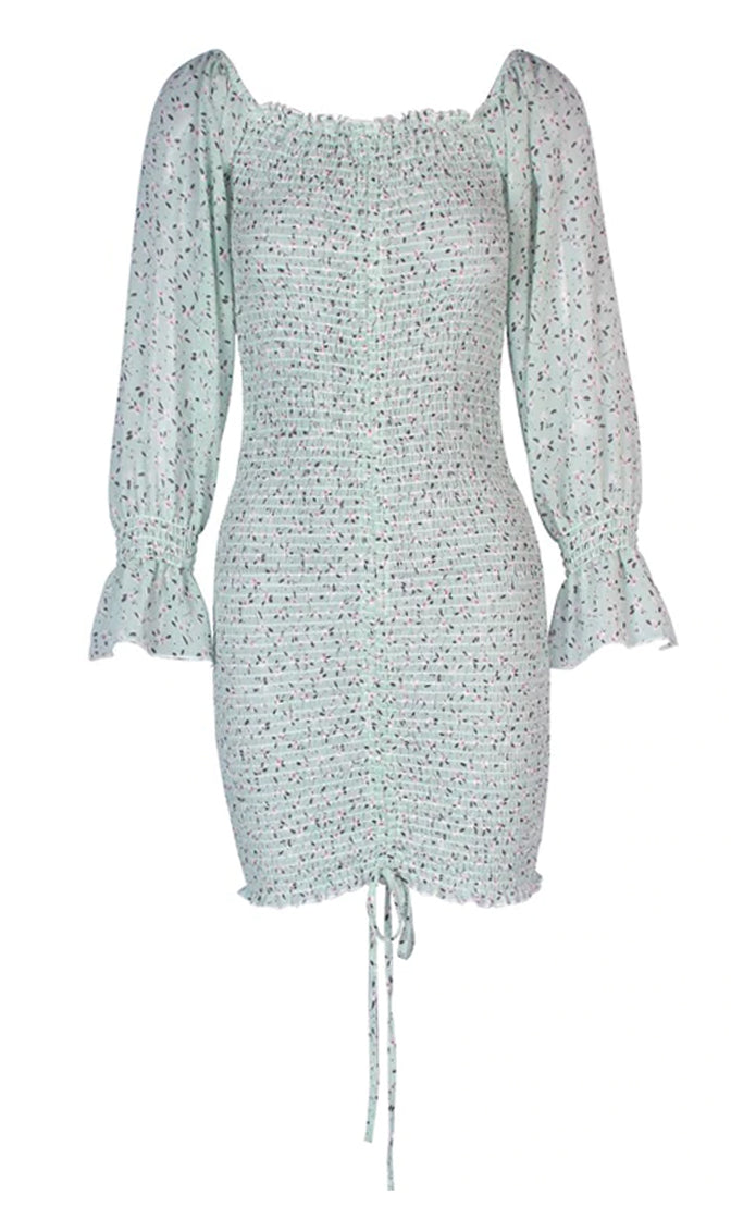 Sweet Attitude Geometric Floral Pattern Long Sleeve Smocked V Neck Ruched Bodycon Casual Mini Dress - 4 Colors Available