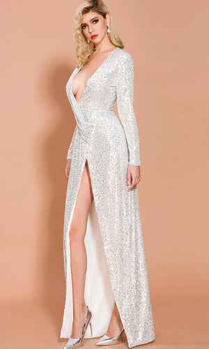 True Following Silver Sequin One Long Sleeve Plunge V Neck Split Front Maxi Dress