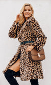 Jungle Cat Leopard Print Animal Pattern Faux Fur Long Sleeve Knee Length Coat Outerwear
