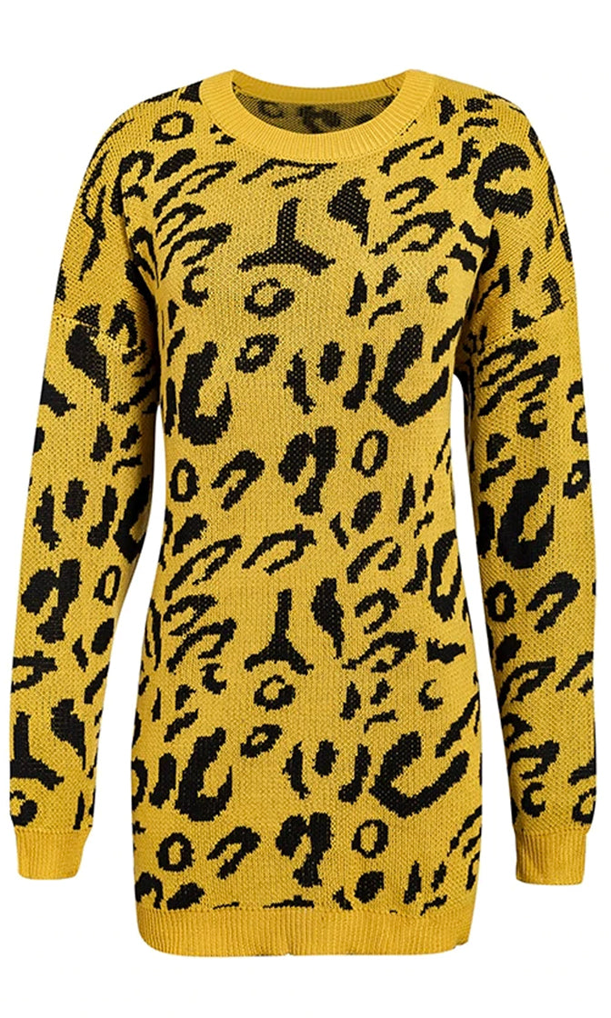 Holiday Hot Shot Long Sleeve Drop Shoulder Crew Neck Animal Pattern Pullover Tunic Sweater - 10 Colors Available
