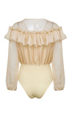 Hit It Big Sheer Chiffon Ruffle Long Sleeve V Neck Bodysuit Top - 4 Colors Available
