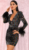 Hello Goodbye Black Multicolor Sequin Long Sleeve Feather Trim V Neck Bodycon Mini Dress