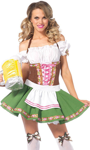 German Beer Babe White Brown Green Short Sleeve Off The Shoulder Lace Up Flare A Line Mini Dress Halloween Costume