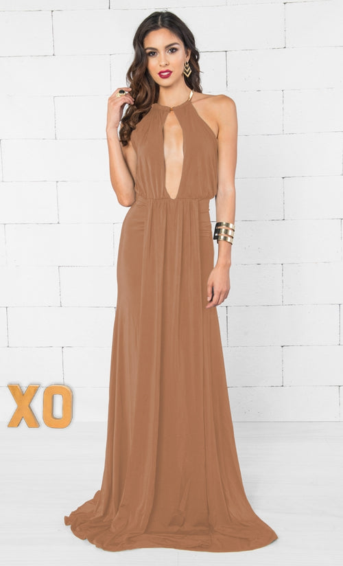 Indie XO Cleopatra Bronzed Camel Brown Gold Sleeveless Plunge V Neck Halter Cut Out Back Ruched Draped Maxi Dress - Just Ours