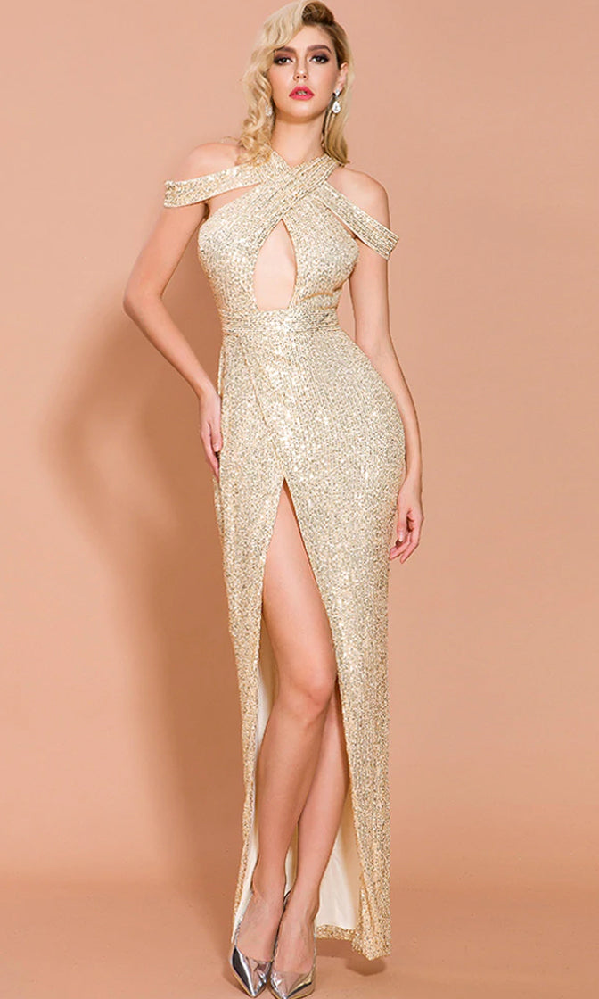 Alluring Glamour Gold Sequin Drape Shoulder V Neck Cut Out Front Split Maxi Dress