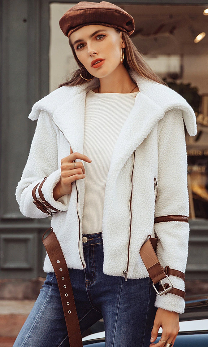 My Pleasure White Faux Shearling Fur Long Sleeve Faux Leather Straps Asymmetric Zip Moto Coat Outerwear  - Sold Out
