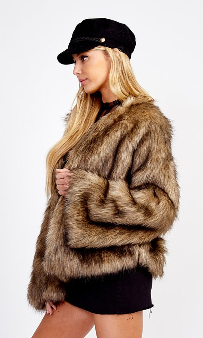 Snow Job Brown Faux Fur Long Sleeve Fur Coat Outerwear