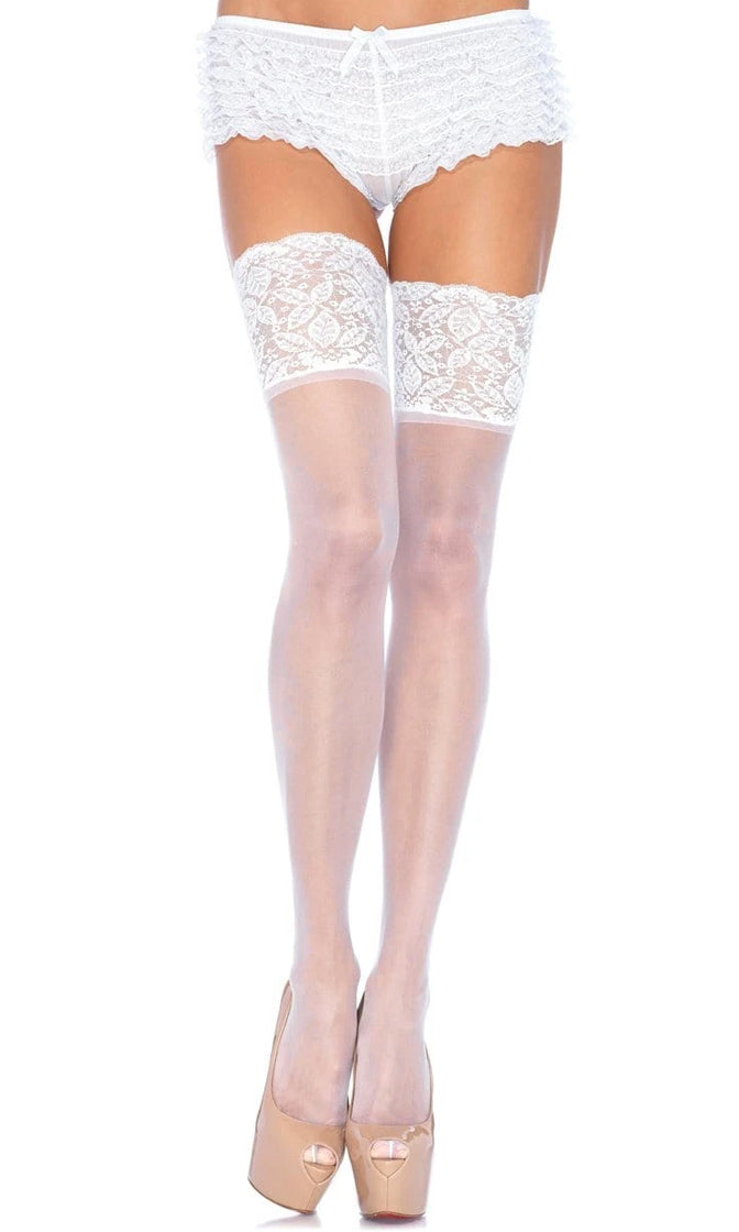 Love My Danger Sheer Lace Silicone Stay Up Thigh High Stockings Tights Hosiery - 4 Colors Available