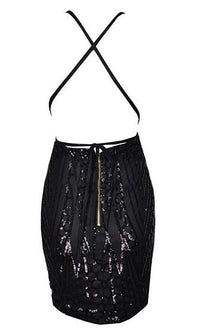 Order Another Round Black Spaghetti Strap Halter Plunge V Neck Backless Sequin Mini Dress - Sold Out