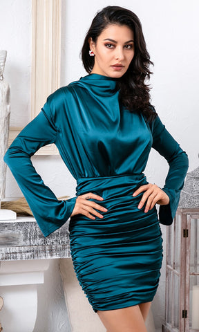 Hot As Hell Blue Sleeveless One Shoulder Ruffle Bandage Bodycon Midi Dress - 3 Colors Available