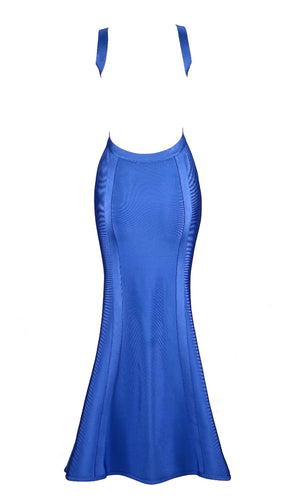 Stepping Out Blue Sleeveless Square Neck Backless Bandage Mermaid Maxi Dress Gown