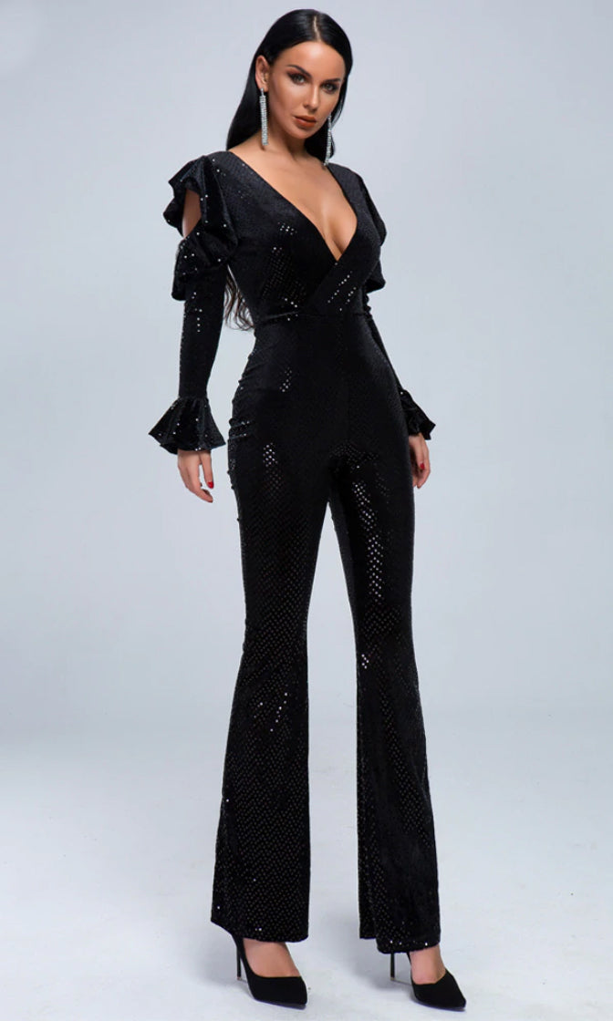 Dark Night Black Sequin Long Sleeve Cut Out Ruffle Plunge V Neck Flare Leg Bandage Jumpsuit