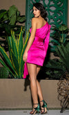 Sounds Like Fun Fuchsia Pink Satin One Long Sleeve Sweetheart Neck Asymmetric Sash Bodycon Mini Dress