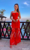 Forbidden Romance Red Sequin Sheer Mesh Lace Sleeveless Cage Bustier A Line Bandage Maxi Dress