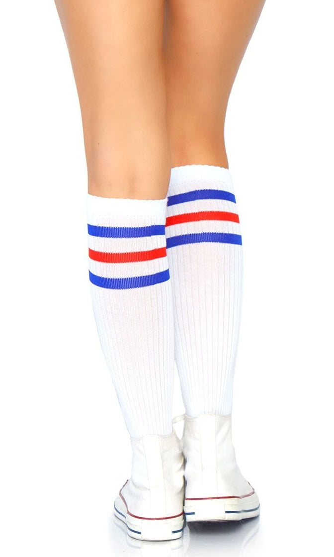 Twenty Yard Line White Stripe Pattern Ribbed Athletic Knee Socks - 2 Colors Available