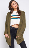 Whatever You Say Shaggy Knit Long Sleeve Open Front Loose Cardigan Sweater - 2 Colors Available - Sold Out