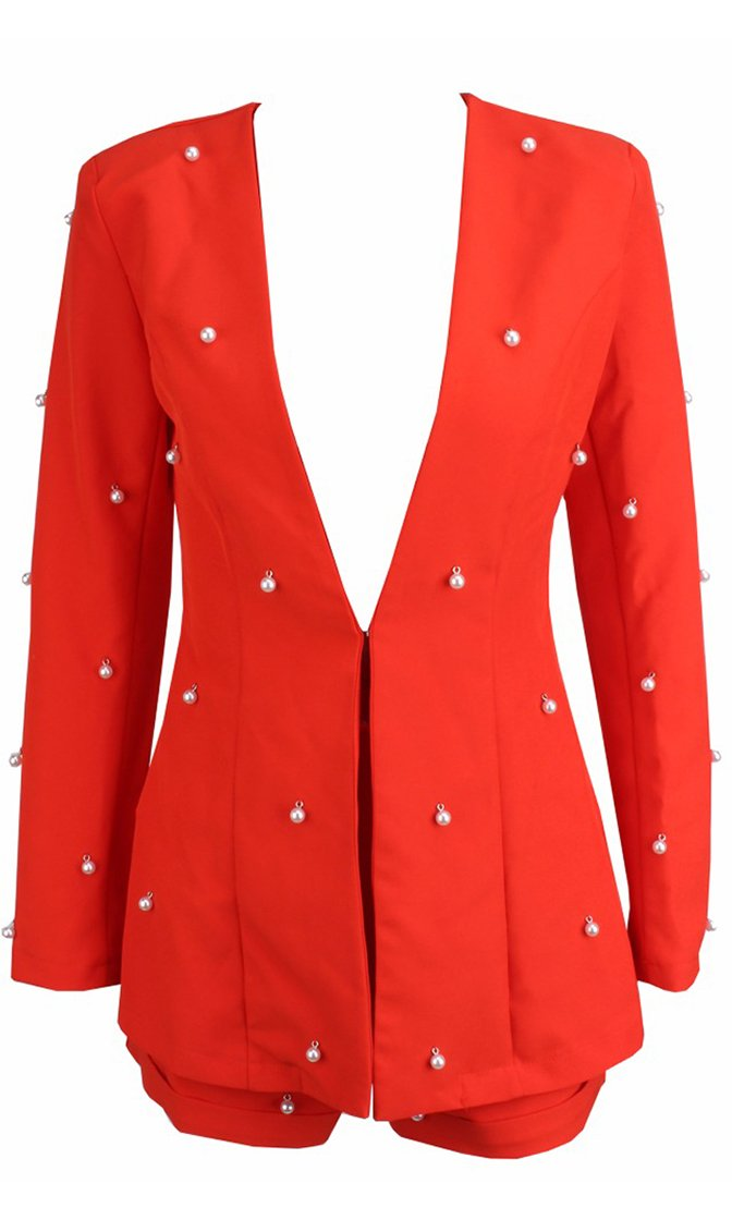 Pearly Perfection Red Long Sleeve Faux Pearl Blazer Romper Short Two Piece Set - 4 Colors Available