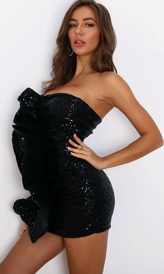 Instagram Queen Black Sequin Strapless Ruffle Bodycon Mini Dress