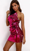 Working On You Fuchsia Pink Sequin Strapless Ruffle Bodycon Mini Dress