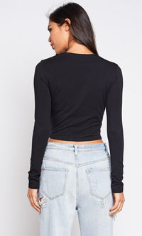 On My Terms Long Sleeve Crew Neck Twist Knot Basic Crop Top - 3 Colors Available - Sold Out