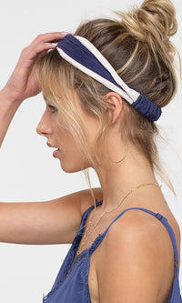 Just Kickin' It Two Tone Striped Stretch Knot Elastic Headband - 5 Colors Available - Sold Out