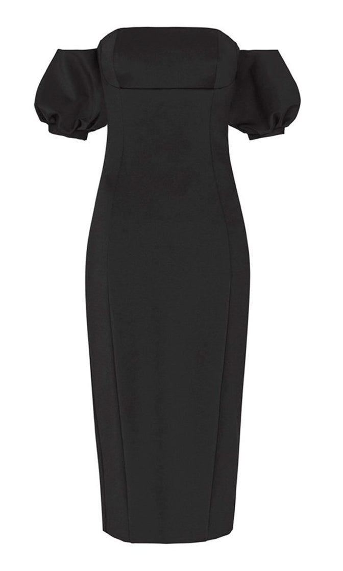 Hello My Love Black Short Puff Sleeve Off The Shoulder Bodycon Bandage Midi Dress