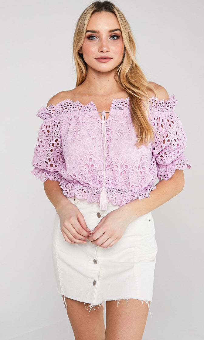 Whatever Happens Eyelet Lace Short Sleeve Ruffle Off The Shoulder Tie Tassel Crop Blouse Top - 2 Colors Available