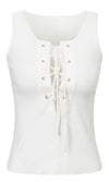 Let's Get Loud White Lace Up Tie Front Sleeveless V Neck Cut Out Crop Top - Sold Out