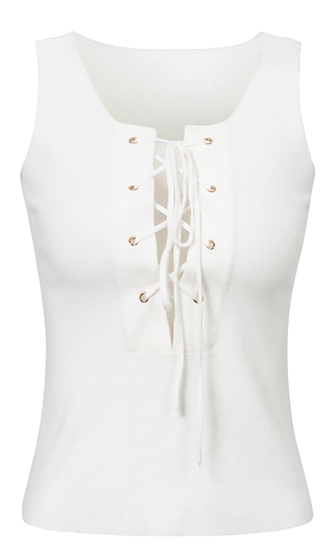 Let's Get Loud White Lace Up Tie Front Sleeveless V Neck Cut Out Crop Top