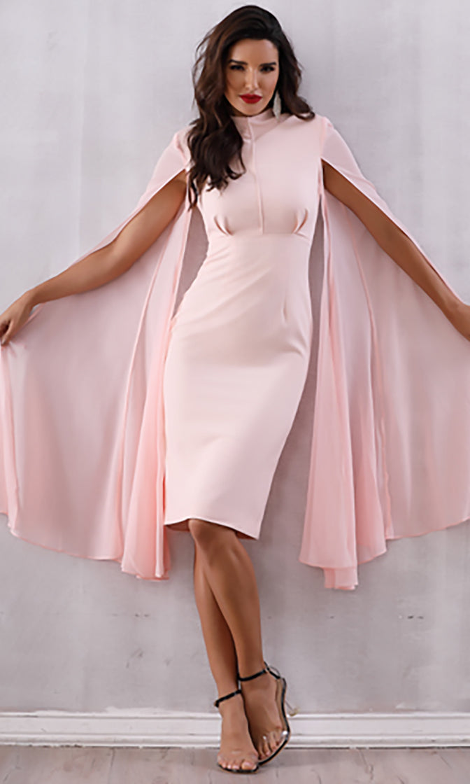 Secret Romance Pink Extra Long Split Sleeve Mock Neck Bodycon Midi Dress