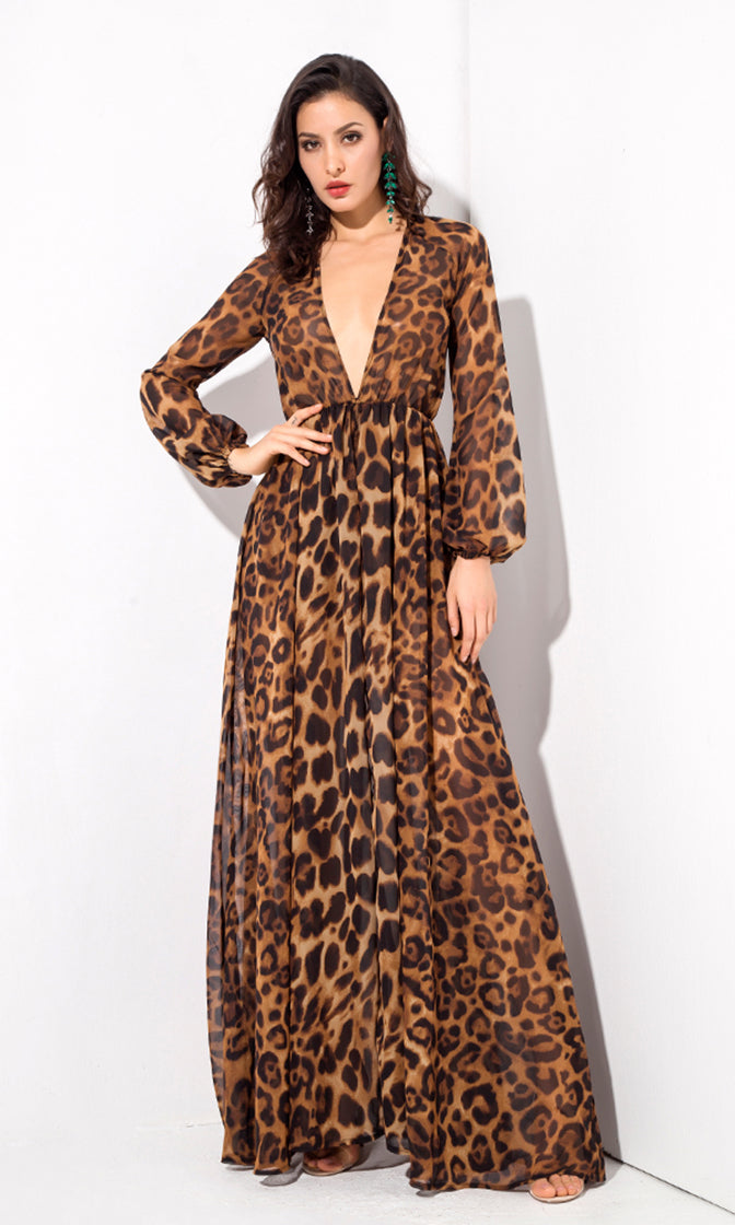 Come With Me Brown Leopard Pattern Long Sleeve Plunge V Neck Split Front Casual Romper Maxi Dress