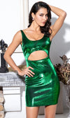 Blazing Star Blue Green Metallic Sequin Long Lantern Sleeve Round Neck Sash Belt Mini Dress