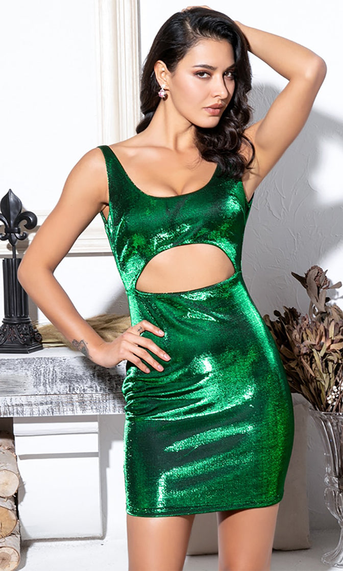 Electric Carnival Green Metallic Sleeveless Scoop Neck Low Back Cut Out Waist Bodycon Mini Dress