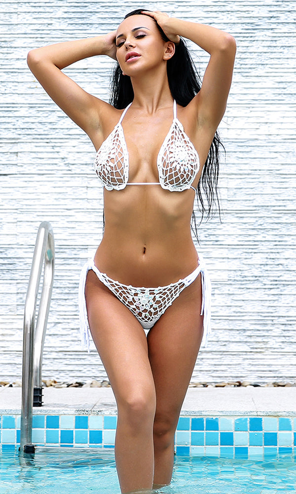 Poolside Stunner White Crochet Cut Out Spaghetti Strap Triangle Top Fringe Tie Side Brazilian Bikini Two Piece Swimsuit