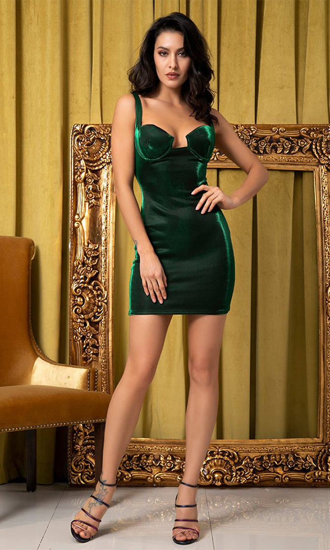 Midnight Love Affair Green Sleeveless Cut Out V Neck Bodycon Mini Dress