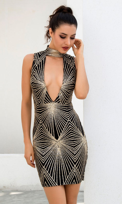 Golden Rays Black Gold Sequin Geometric Pattern Sleeveless Mock Neck Plunge V Neck Bodycon Mini Dress
