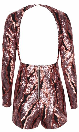 Move On Up Brown Black Sequin Long Sleeve Plunge V Neck Cut Out Back Romper Playsuit